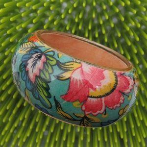 Vintage Floral Clear Lucite Bracelet